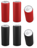 Red and black aluminum cans