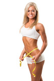 Healthy fitness woman with  measuring tape