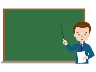 黒板を背景にした男性教師