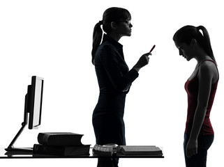 teacher woman mother teenager girl reproach discussion  in silho