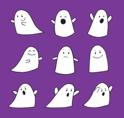 9 Assorted Halloween Ghosts