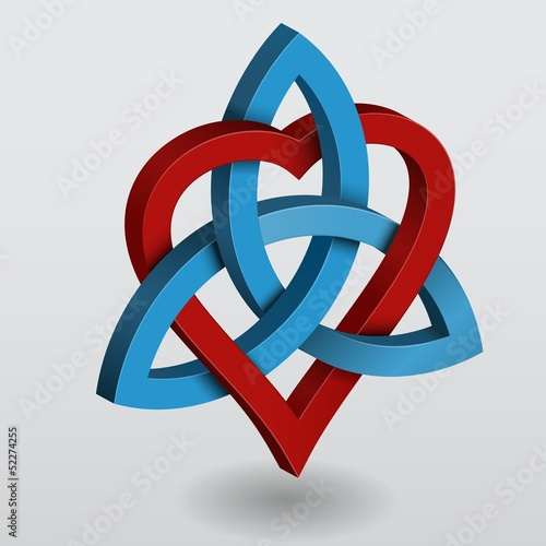 Abstract illustration of a celtic knot triquetra with heart