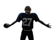 triumphant american football player man silhouette