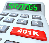Savings Word Calculator 401K Button Retirement Future poster