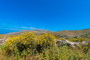Greece Syros island main land view in Cyclades at sunny summer d