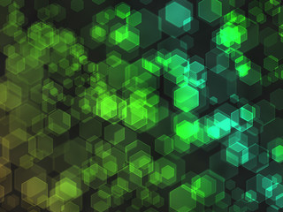 Green hexagon bokeh background.