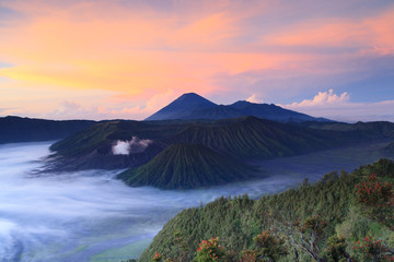Volcanoes in Bromo Tengger Semeru National Park at sunrise