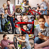 Family of bikers