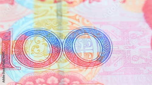 Chinese currency close up