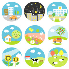 風景 都会、田舎、農場、自然