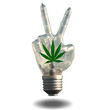 Peace sign light bulb with marijuana leaf