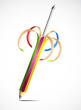Colorful uncapped pencil and rod. Vector