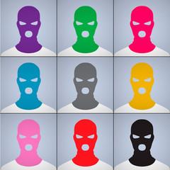 Avatars in a cap-mask, vector Eps10 illustration.