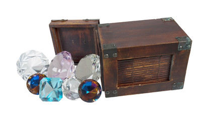 Antique Gems Pour from Wooden Box