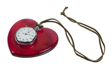 Stopwatch and Red Heart on leather cord