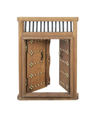 Wooden Open Castle Door with Brass Details