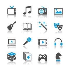 Entertainment icons - reflection theme