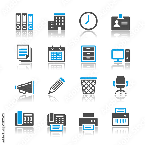 Business and office icons- reflection theme