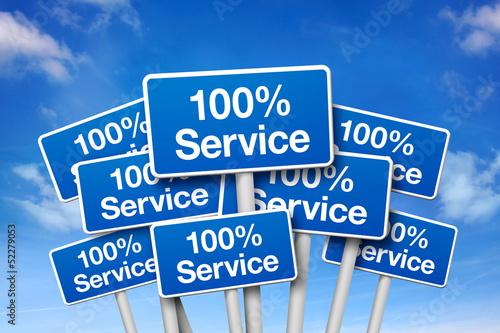 Schilder mit 100% Service