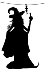 Young sexy witch silhouette with poison and spider