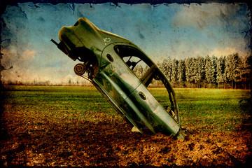 Retroplakat - Unfallauto