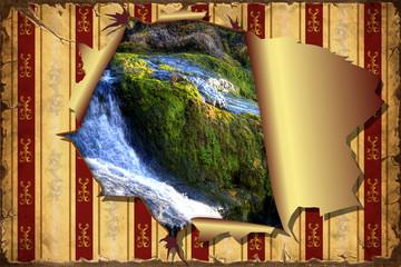 3D Aufgerissene Tapete - Wasserfall II