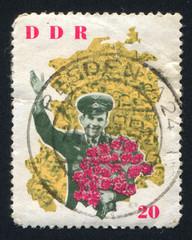 Yuri Gagarin and map of DDR