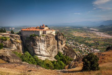 Impressive monastery construction on high hill at Meteora - Gree