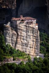 Meteora Roussanou Monastery on rock, Greece