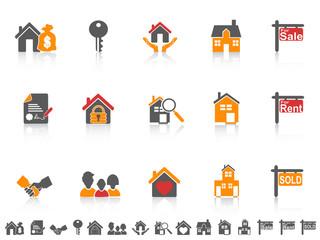 simple color real estate icon set