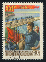 Workers and Lenin power plant on Volga