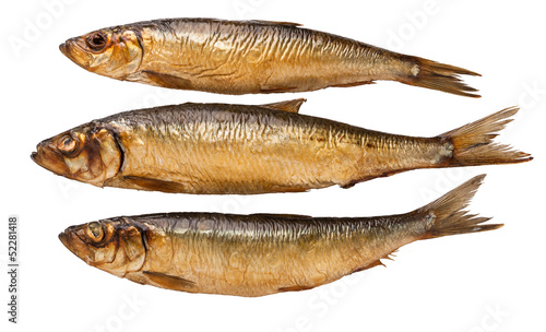 brown smoked trunk fish on white background