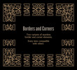 Set of gold seamless borders and corners isolated on black