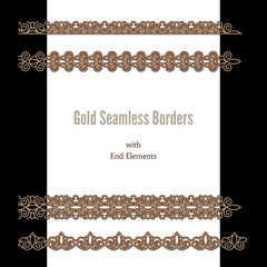Gold lace ribbons, set of seamless borders with end elements
