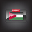 Glass button of the flag of Jordan