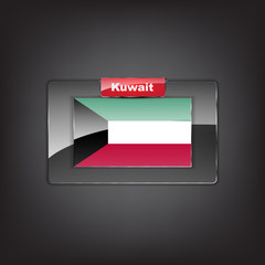 Glass button of the flag of Kuwait