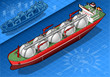 Isometric Gas Tanker Ship in front view - 52283084