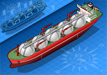 Isometric Gas Tanker Ship in front view