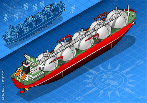 Isometric Gas Tanker Ship in Rear View