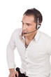 Man with a headset listening to a call