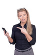 Frowning woman pointing to her mobile
