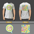 Full white T-shirt wuith colorful pattern