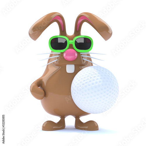Chocolate bunny holds a golf ball