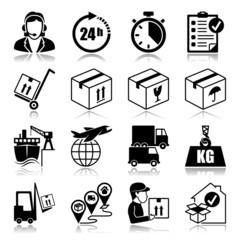 Icons set with reflection: Logistics