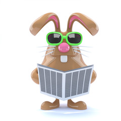 Chocolate bunny read the news today