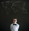 Thinking boy business man with chalk geography world map