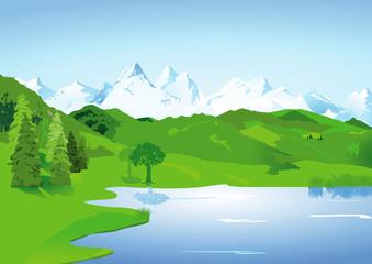 Landschaft mit hohen Bergen und See