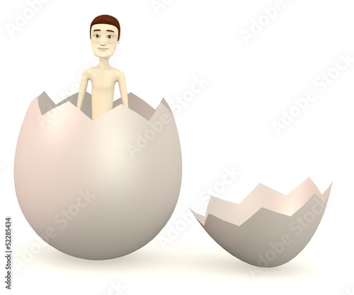 3d render of cartoon character in egg