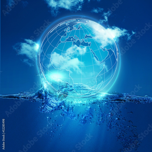 Whole world into the water bubble, environmental backgrounds
