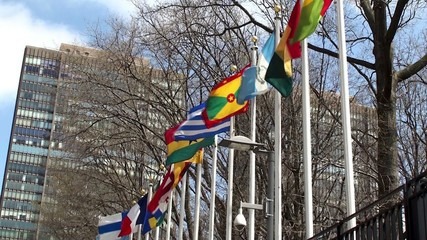 UN headquarters. Member states flags. NYC